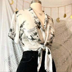 Anthropologie Cloth & Stone Floral Hawaiian Shirt